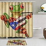 OPQRSTQ-O Juego de Cortinas y tapetes de Ducha de Tela,Rana Tocando la Guitarra de la Bandera de Puerto Rico,Cortinas de baño repelentes al Agua con 12 Ganchos, alfombras Antideslizantes