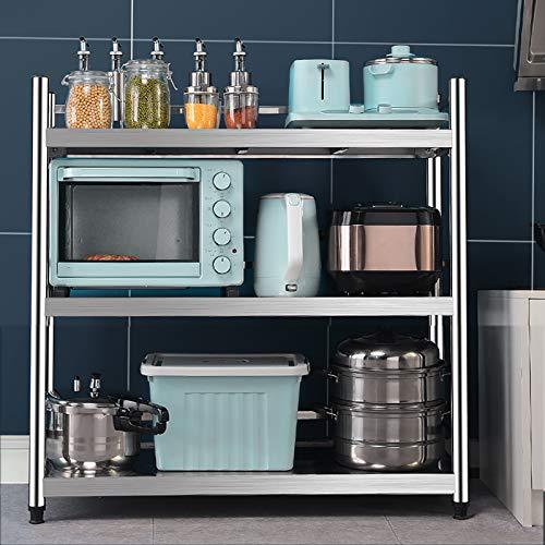 Unidad de estantería de Acero Inoxidable de 3 estantes, Mesa de Catering de Cocina, Banco de Trabajo Pesado para cocinas Oficina de Catering Comercial, Altura: 100 cm (Size : 60 * 35 * 100cm)