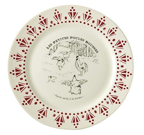 Comptoir de Famille 154760 Coffret de 4 Assiettes à Dessert, Faïence, Blanc/Gris/Rouge, 21 cm
