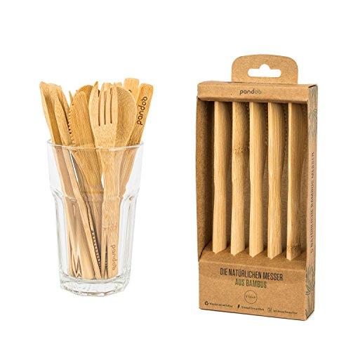 pandoo Messer aus 100% natürlichem Bambus | wiederverwendbar & umweltfreundlich | plastikfrei | Hochwertig, leicht und stabil | biologisch abbaubar