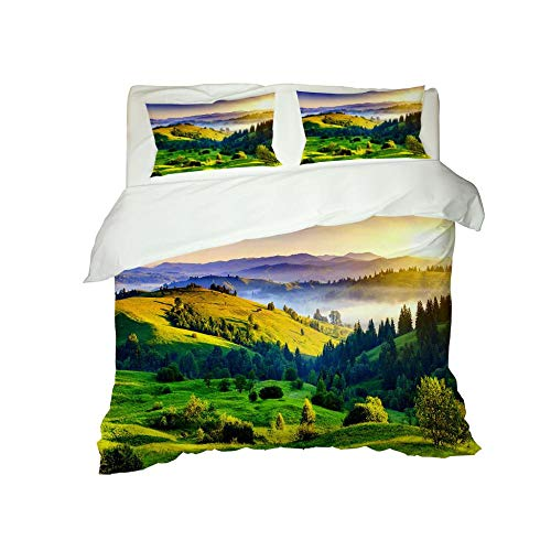 RYQRP Single Duvet Cover Set Green Mountains Bedding Set with Zipper Closure in Polyester, 3pcs, 1 Quilt Cover 2 Pillowcases for Children Adults, 140x200cm