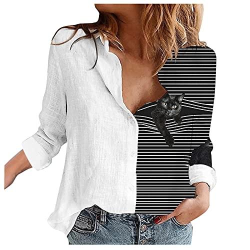 VEMOW Blusas y Camisas de Manga Corta para Mujer, Camisa Básica Clásica Mujer Sexy Blusa Camiseta de con Botones Sexy T-Shirt Top Blusa de Solapa, 2021 Moda Casual Primavera Verano Tops(I06,S)