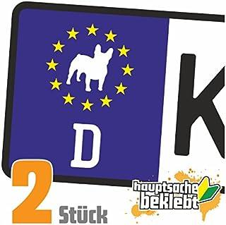Französische Bulldogge Hund Kennzeichen Aufkleber Sticker Nummernschild   IN 15 FARBEN