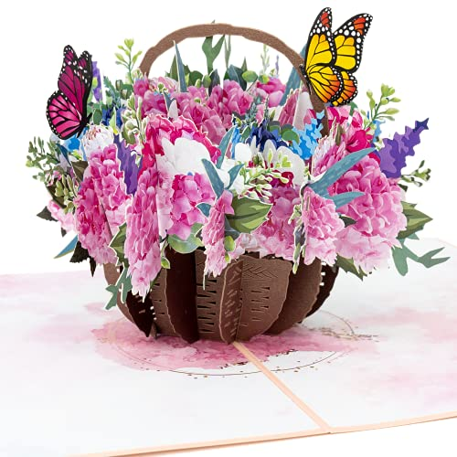 LIMAH® Pop-Up 3D Grußkarte/ Blumenkorb-Karte (Hortensien) für Sie zum Geburtstag, Muttertag, Valentinstag, zur Genesung oder als Dankeskarte /Blumenkorb mit Schmetterlingen Motiv