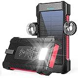 モバイルバッテリー ソーラー 26800mAh 大容量 ソーラーチャージャー ソーラー充電器 携帯充電器 高輝度LEDライト付き 2*USB出力ポート 太陽光で充電可能 PSE認証済 IOS/Android対応 台風/災害/停電/旅行/出張/アウトドアに大活躍