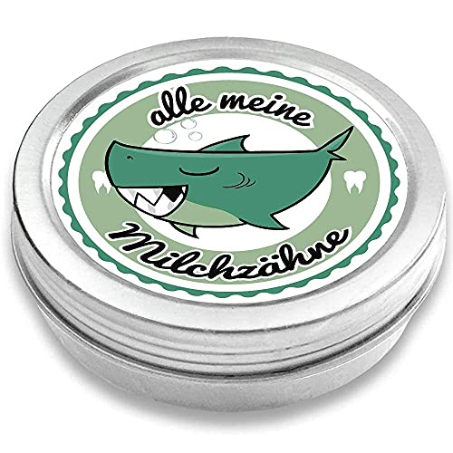 FANS & Friends Zahndose Made in Germany, Metall, direkt bedruckt, sicherer Schraubverschluss, Zahnfee Dose Jungen & Mädchen, Milchzahndose (Hai petrol)