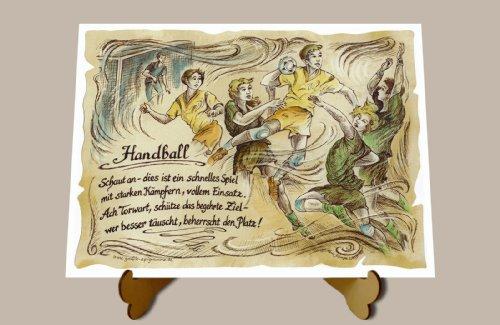 Geschenk Handball Zeichnung Color 30 x 21 cm mit Aufsteller