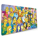 Oversized Anime Game The Simpsons Mouse Pad Extended Computer Pad Non-Slip Rubber and Durable Stitched Edges for Gaming Keyboard Laptop Mouse Pad One Size