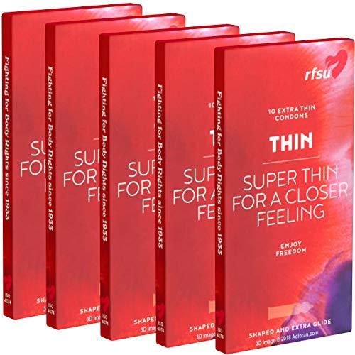 RFSU Thin SPAR-PACK (5x10) 50 Kondome - Thin: Hauchzarte Kondome mit besonders enger Stelle vor der Eichel