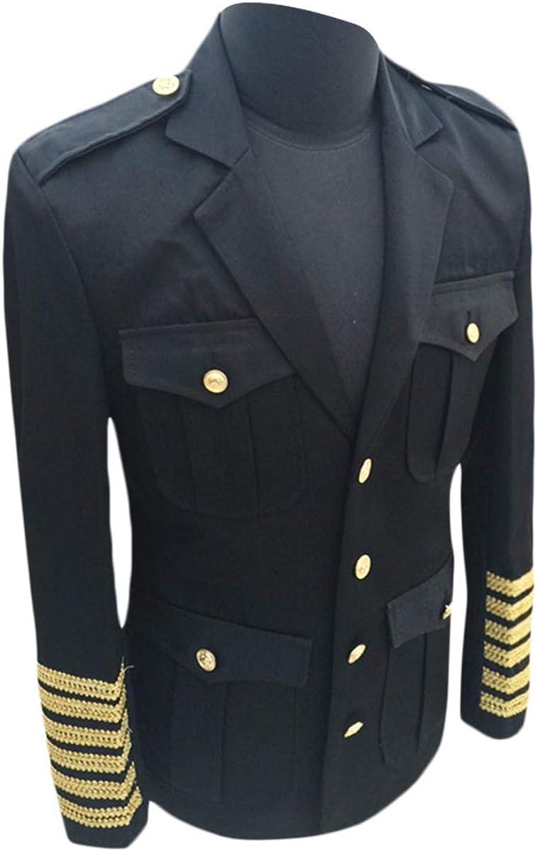 Men's Suits Captain Uniform Blazer Jacket Party Show Prom Stage Cosplay Dinner Dress Coat