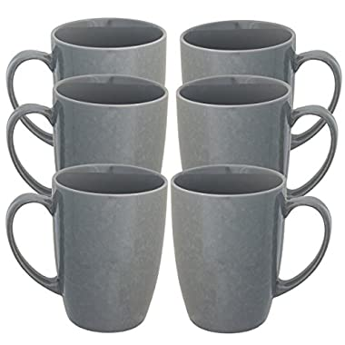 Fuse (6 Pack) Porcelain Coffee Mug With Handles Set Glazed Ceramic Mug 15oz Reusable Hot Cocoa Tea Cup