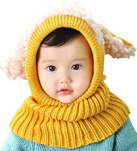 Tuopuda® Baby Kinder Winter Warm Gestrickter Mütze Beanie Mütze Haube Strickmütze Wintermützen Earflap Hut Kappe Schnee Hut Schlupfmütze Schalmütze (gelb)