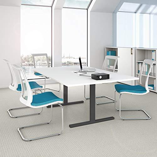 Weber Büro Easy Konferenztisch 200x120 cm Weiß mit ELEKTRIFIZIERUNG Besprechungstisch Tisch