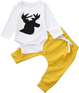 Yeach 子供服 女の子 70-100 0-2歳 ロングスリーブ Mシカの頭 印刷 ロンパース トップ パンツ ツーピーススーツ スーツ 姫様 普段着 写真 人気 誕生日プレゼント
