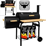 Deuba KING BBQ Smoker Charcoal Barbecue Barrel Grill Outdoor Heat Indicator Portable Garden Patio Heating Black Party Cooking