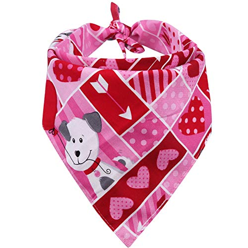 KZHAREEN Valentine's Day Dog Bandana Reversible Triangle Bibs Scarf Accessories for Dogs Cats Pets Animals