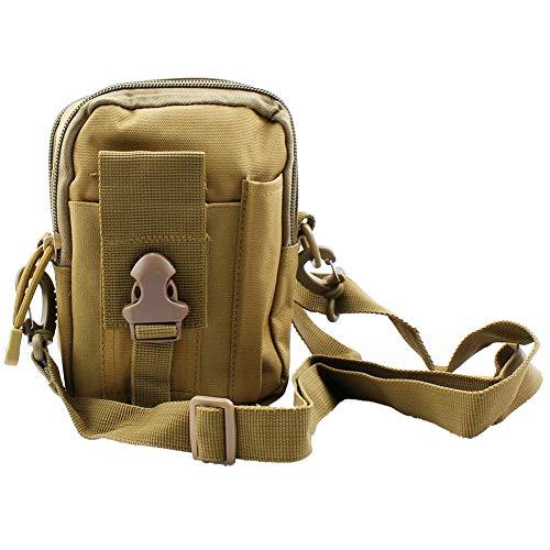 ZhaoCo Taktische Hüfttaschen, Nylon Militär Kompakt MOLLE EDC Handytasche Gürteltasche Beutel für Gadget-Dienstprogramm Camping Wandern Reise - Khaki mit Gurt