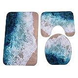 Gaoqi Baño Alfombra de Pedestal Estilo océano Azul Antideslizante + Tapa de Inodoro + Alfombra de baño