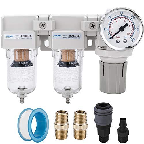 """NANPU 1/4\"""" BBSP Filtro Dobles&Regulador de Aire, Sistema de Secado de Aire Comprimido,Separador de Agua y Reductor de Presión, Elemento de Latón de 5 μm, Drenaje Semiautomático, Manómetro de 0-10 Bar"""