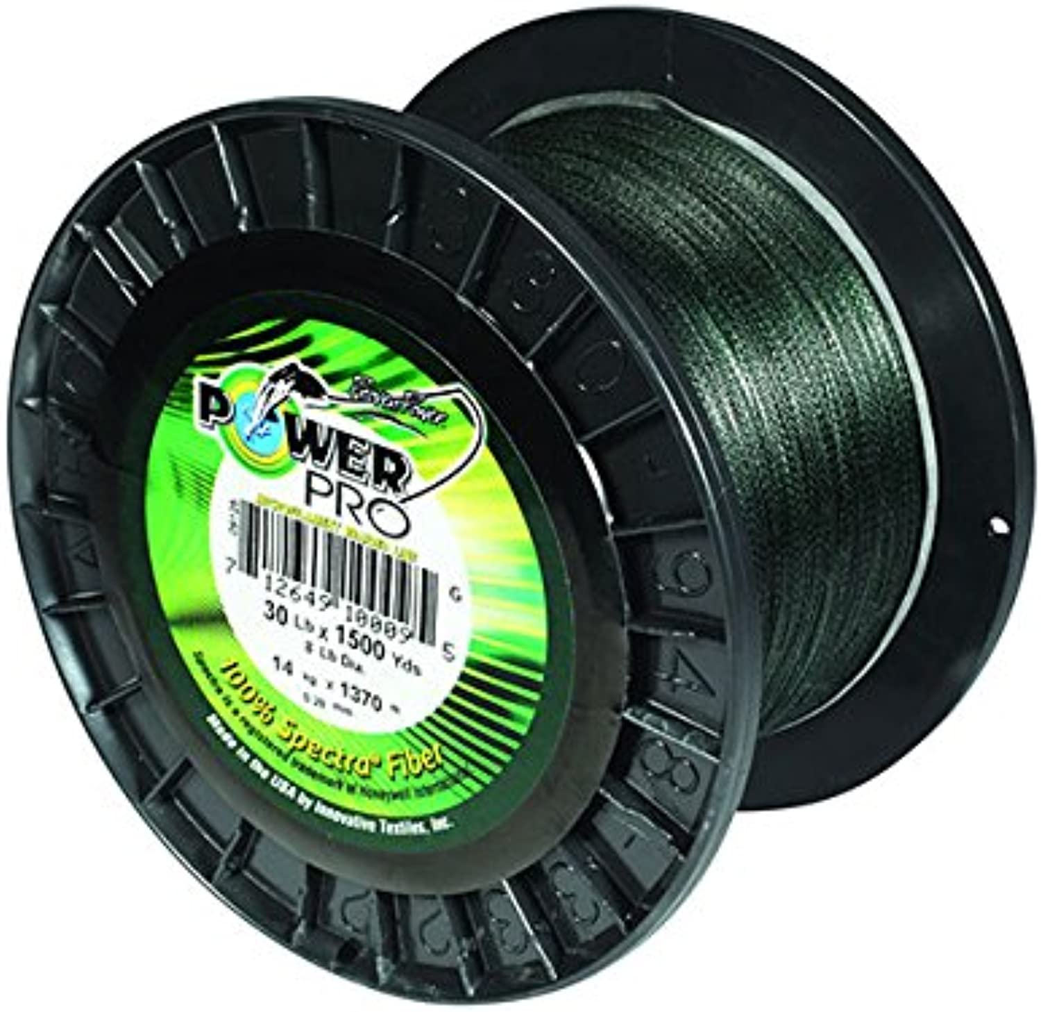 PowerPro Power Pro 21100150500E Braided Spectra Fiber Fishing Line, 15 Lb 500 yd, Moss Green