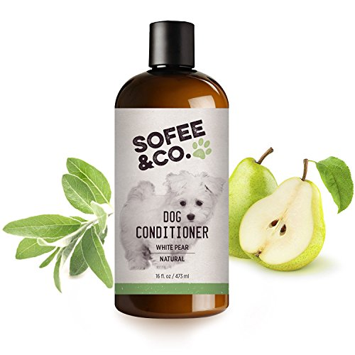 Sofee & Co. Natural Dog Puppy Conditioner - Moisturize Detangle Deodorize Condition Calm Soothe Soften Normal Dry Itchy Allergy Sensitive Skin. Prevent Mattes. 16 oz (White Pear)