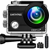 Earthtree Action Camera FHD 1080P 12MP Underwater Cam WiFi Sports Camera with 170°Wide Angle, Waterproof 30m, 2 Rechargeable Batteries (1050mAh) included with Multiple Mounting Kits