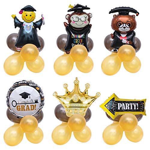 6-teiliges Folienballon-Set mit goldener Krone, Dr. Brown Bär, Abschlussball-Kappenball, Pfeil, Doktor- und Abschlussaffe für Happy Graduation, Dekoration, Partyzubehör