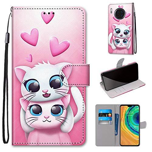 Miagon Flip PU Leder Schutzhülle für Huawei Mate 30 Pro,Bunt Muster Hülle Brieftasche Case Cover Ständer mit Kartenfächer Trageschlaufe,Katze Liebhaber