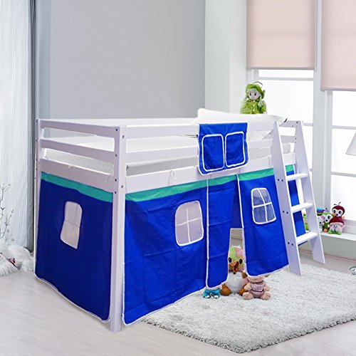 Warmiehomy Cabin Bed Wooden Mid Sleeper Cabin Bunk Bed Children Bed with Tent Ladder Kids Bed White Frame (Blue Tent)