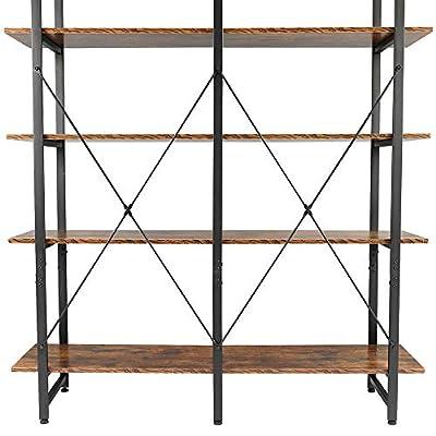 Double Wide 5-Tier Open Bookcase Vintage Indust...
