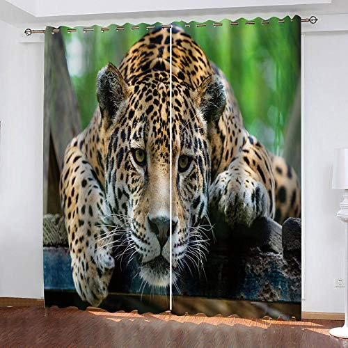 BHOMLY - Cortinas Habitacion Niño - 3D Amarillo Animal Leopardo 92.5x175cm Cortinas Salon 2 Piezas Opacas - Ventana Opacas Cortinas - Termicas Aislantes - Juvenil Bebe Infantiles Cortinas Habitacion