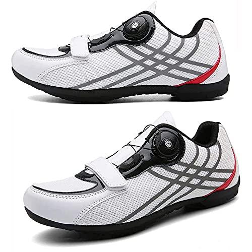HYQW Zapatos De Ciclismo Hombres Mujeres Transpirables Antideslizantes Zapatos De Ciclismo Zapatos De Carretera MTB Plana Zapatos Sin Clics VIIPOO,White-44 EU