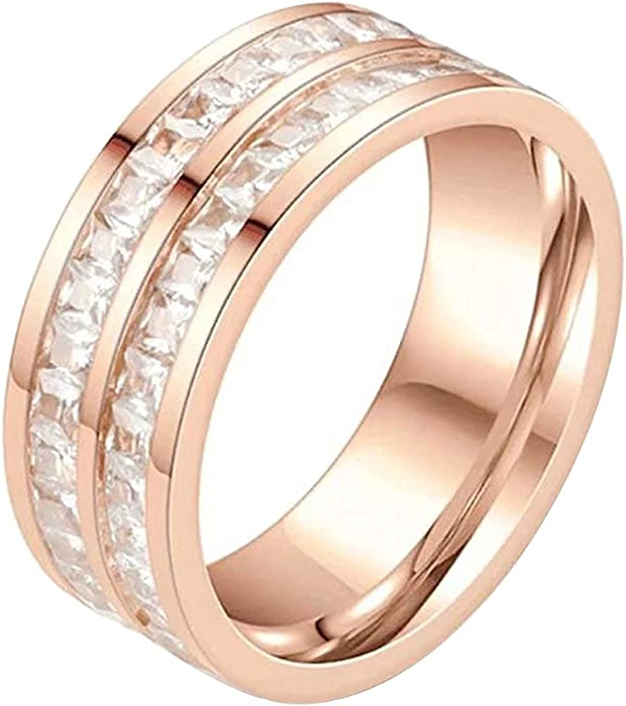 outlet JAJAFOOK 4mm 8mm Princess Cut Eternity wit Rings Ring Engagement Ranking TOP20
