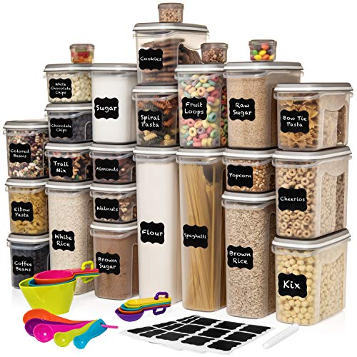 LARGEST Set of 52 Pc Food Storage Containers 26 Container Set Shazo Airtight Dry Food Space Saver w Interchangeable Lid 14 Measuring Cups  Spoons Labels  Marker  One Lid Fits All  Reusable