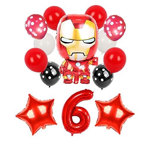 YSHSPED Globos Regalos de 1 Juego de Dibujos Animados de Spiderman Iron Man Batman Hoja hincha súper héroe Fiesta de cumpleaños Decoración Juguetes for niños (Color : 6)
