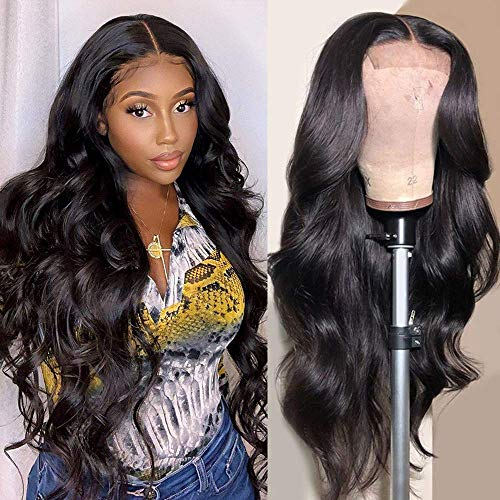 Fle Hair 4X4 Lace Front Wigs Brazilian Body Wave Human Hair Wigs for Black Women 150% Density Pre Plucked with Baby Hair Natural Black (20 inch, Closure Wigs Human Hair)