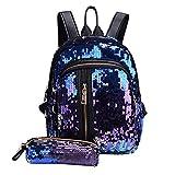 2pcs Bag Set Sequins Backpack Teenage Girls Fashion Rucksack Students School Bag with Pencil Case Clutch-Blue