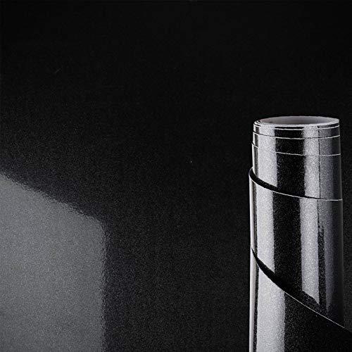 Awnic Folie Schwarz Glänzend Hochglanz Klebefolie Möbel Selbstklebend Möbelfolie für Schränke Küche Küchenfronten Küchenfolie Wasserfest 300x40cm