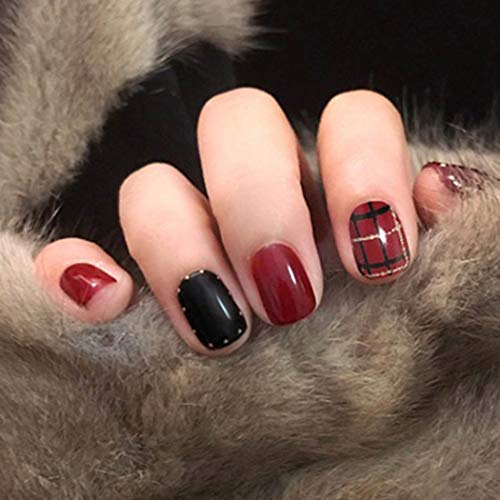 Haloty Square Press on Nails Short Red Christmas Fake Nails Glossy Bling Full Cover Acrylic Artificial False Nail for Women and Girls (Wine)
