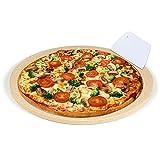 Crozzfog Pizza Stone for Grill and Oven, 10.25'' Grill Pizza Stone Baking Stone with Scraper, Durable and Safe Ceramic Cordierite Pizza Stone Pan for Crisp Crust Pizza, Bread and More