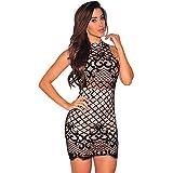 Vestidos De Fiesta Moda para Mujer de Noche Cortos Elegantes Negro Casuales Cóctel (L)