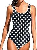 PANOZON Bañadores de Mujer 1 Pieza con Relleno Traje de Baño Color de Gradiente Push Up Tankinis (2X-Large, Lunares)
