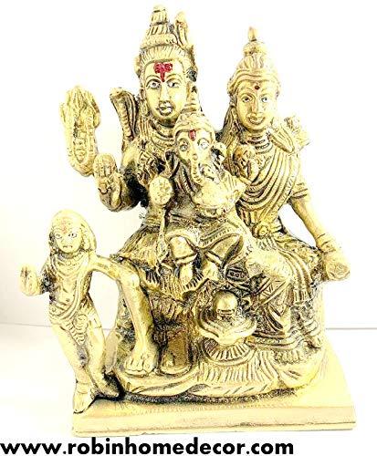 Robin Exports Lord Shiva Family Statue Religious Shiv Parivar Ganesha Parvati Kartik Idol Figurine Home Temple Office Decoration 6 Inch