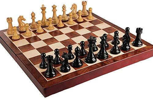 LLDKA Ajedrez de Madera de Lujo, Tablero de ajedrez de Gran tamaño, Piezas de ajedrez, Tablero de ajedrez 55x55 cm y Piezas de ajedrez 11 cm