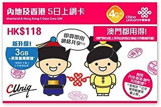 【中国聯通香港】中国大陸と香港 5日間 データ SIMカード 3GB FUP