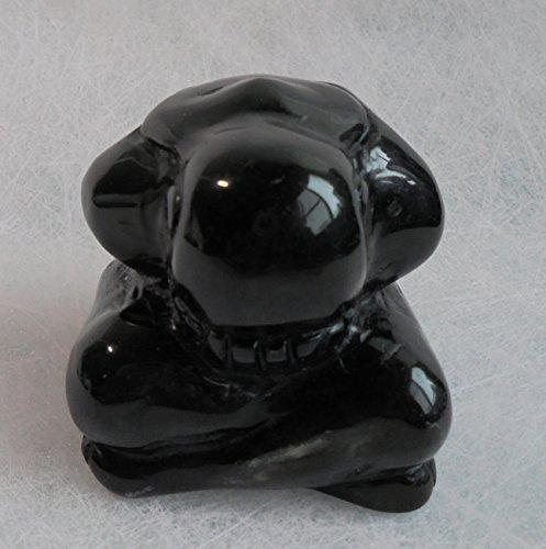 52mm Hand Carved Gemstone Weeping Buddha Figurine 2', Decoration for Home & Car (Obsidian)