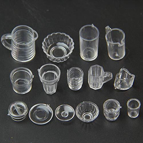 nbvmngjhjlkjlUK 15 pièces/Ensemble Petite boisson Miniature Tasse de crème glacée ustensiles de Cuisine modèle Enfants en Plastique Transparent Semblant Jouer jouets