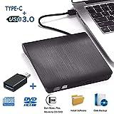Masterizzatore DVD CD Esterno iAmotus Unità DVD Esterna USB 3.0 Tipo-C Dual Port, External DVD Drive Portatile Unità Ottiche USB CD/DVD +/-RW Lettore di Schede Slim Disc per Win7/8/10/XP,Mac OS,Linux