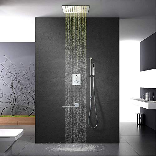 HONYGE LXGANG - Juego de ducha de mano con mando a distancia montado en la pared con grifo