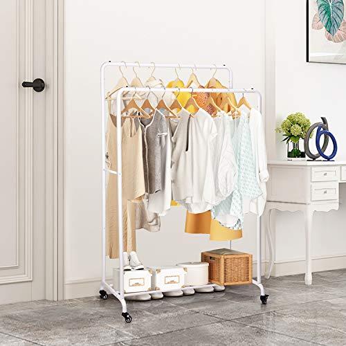 amzdeal Kleiderständer,Schwerlast Metall Kleiderständer mit Rollen,im Industriedesign zur Warenpräsentation, Doppelruten Multifunktionale Garderobenständer,bis 120 kg belastbar,Weiß